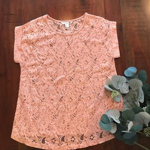 Forever 21 Tops - Forever 21 Sheer Lace Top with Cuffed Sleeves